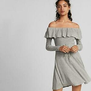 express gray off the shoulder ruffle corset waist fit and