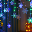 miniature 24 - 96LED Icicle Hanging Snowflake Curtain String Lights Fairy Christmas Party Decor