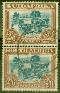 South-Africa-1927-2s6d-Green-amp-Brown-SG37-Fine-Used-Vert-Pair