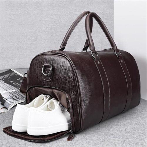 Men/'s Leather Gym Duffel Shoulder Bag Travel Overnight Luggage Large Handbag
