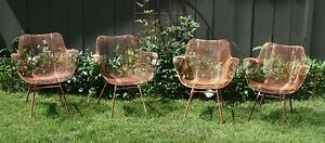 4-Russell-Woodard-Mid-Century-Modern-Sculptura-wrought-iron-Patio-chairs-set