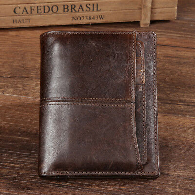 Handmade Genuine Leather Card Sleeve Cash Vintage ID Holder Purse Wallet Wax