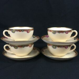 Set-of-4-VTG-Cups-and-Saucers-Multi-Floral-Gold-Trim-Fine-China-Made-in-JAPAN