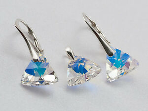 GENUINE-SWAROVSKI-CRYSTAL-Pyramid-earrings-pendant-SET-40-SALE