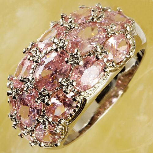 Pink-Topaz-Gemstone-Fashion-Jewelry-Women-Silver-Ring-Size-6-7-8-9-10-11-12-13