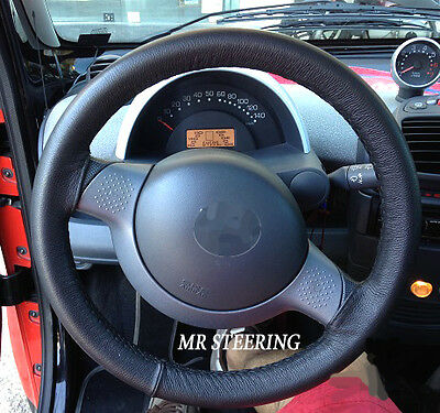 FITS SMART FORTWO W450 REAL BLACK ITALIAN LEATHER STEERING WHEEL COVER 1998-2006