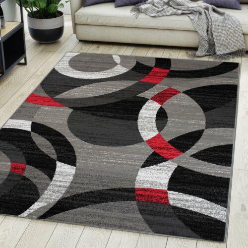 Teppich Wohnzimmer Modern Design Grau Rot Kurzflor S XXL und Mehr NEU
