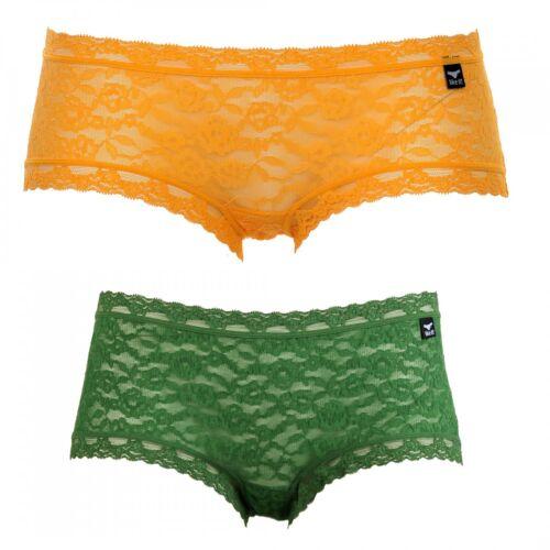 2er Pack LIKE IT Damen Short Hipster Pant Spitze Farbwahl