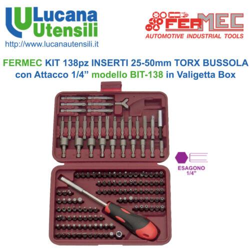 """FERMEC KIT 138pz INSERTI 25-50mm TORX BUSSOLA 1//4"""" modello BIT-138 in Valigetta"""
