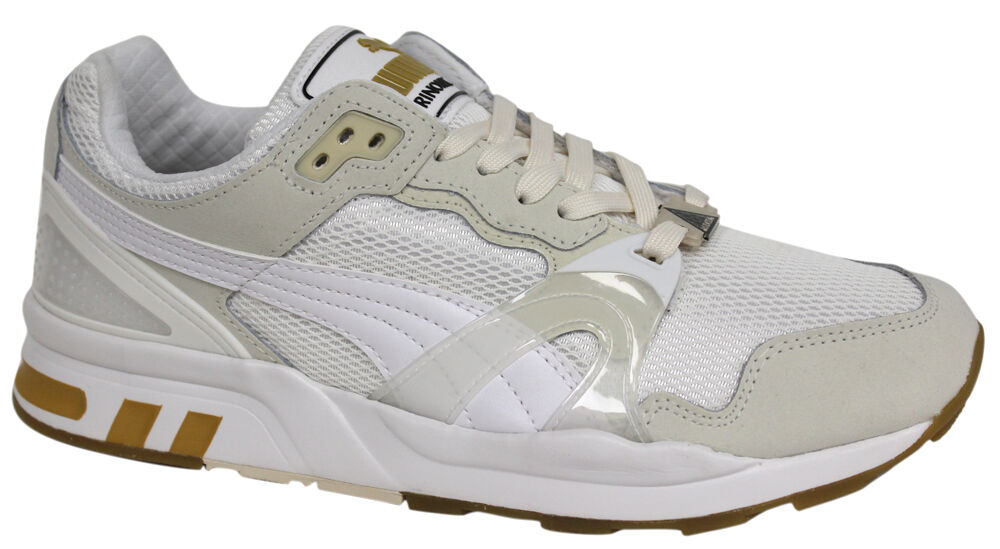 Puma Trinomic XT 2 Mens Trainers White Gold Mesh Lace Up 358138 02 P3