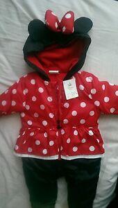 c6b2c912a Disney Minnie Mouse baby pram suit snow suit onesie 3-6 months | eBay