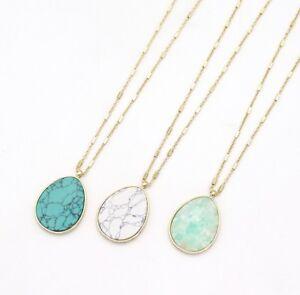 Natural-Stone-Waterdrop-Pendant-Long-Necklace-Women-Gold-Metal-Teardrop-Necklace