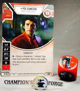 Star Wars Destiny 2 Player Starter Set Poe Dameron #25 Rare w/ Die