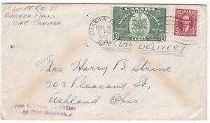 1942 13¢ Special Delivery (#E7) FECB Cover, Niagara Falls to Ashland, Ohio