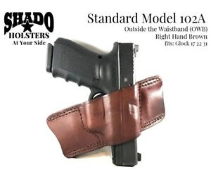 SHADO Leather Holster Model 102A RH Brown OWB fits Glock 17 22 31 Brand Products