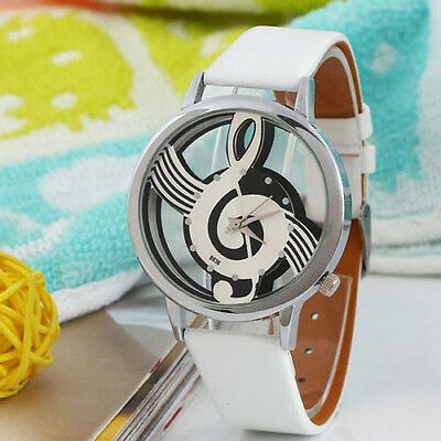 Men Geneva Watches Note Music Notation Leather Quartz Wristwatch Fashion Luxury