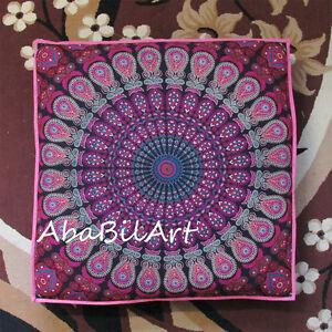 35X35-034-Grande-Rosa-Multicolor-Mandala-Indio-piso-Almohada-Cojin-Cubierta-Cama-del-perro