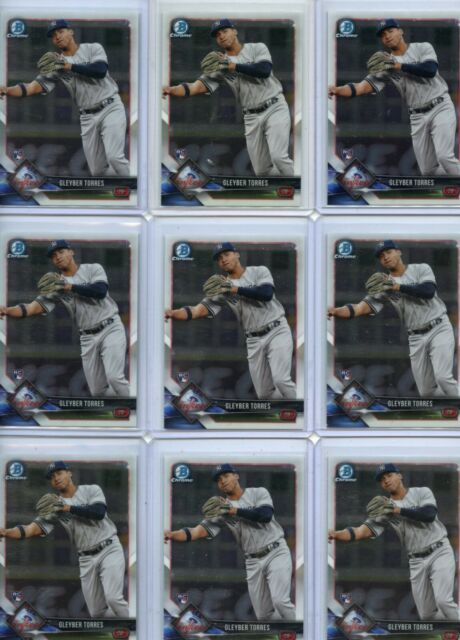 LOT OF (9) 2018 BOWMAN CHROME #83 GLEYBER TORRES ROOKIE RC'S, YANKEES, 102320