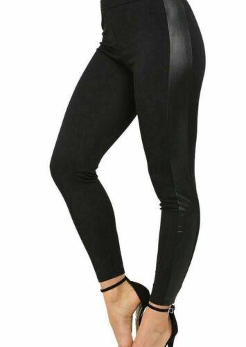 Womens Black Wet Faux Leather Look Side Panel Long Ladies Leggings