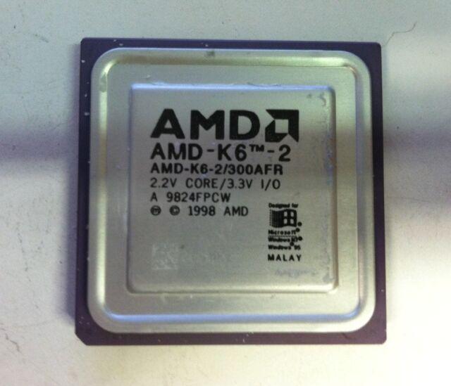 AMD AMD-K6-2 AMD-K6-2/300AFR 300 Mhz Vintage Gold Ceramic CPU Processor