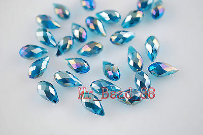 20ps Charms Crystal Teardrop Spacer Pendant Loose Beads 6x12 mm 42 color To Pick