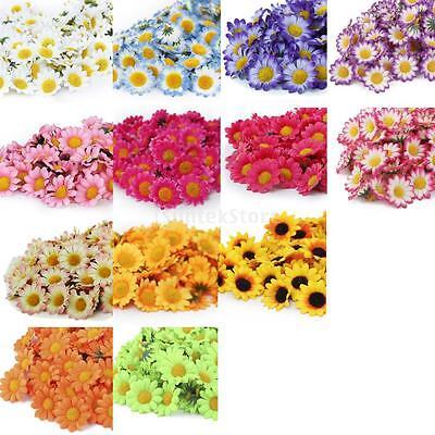 100x Artificial Gerbera Daisy Silk Flowers Heads Diy Wedding Party Home 9 Colors