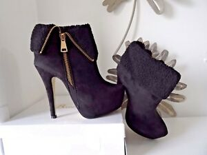Ankle-boots-size-5-heels-faux-suede-black-gold-zip-beauty-girls