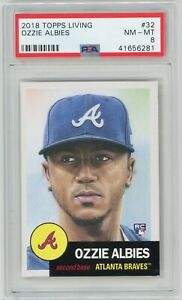 2018-Topps-Living-32-OZZIE-ALBIES-RC-Rookie-Braves-PSA-8-NM-MT
