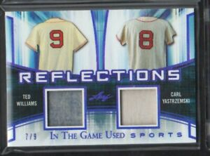 best sneakers 508bc da0ef Details about 2018 LEAF IN THE GAME USED TED WILLIAMS CARL YASTRZEMSKI  JERSEY # 7/9