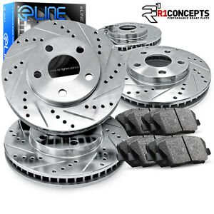 Brake-Rotors-FRONT-REAR-KIT-ELINE-034-DRILLED-AND-SLOTTED-034-amp-CERAMIC-PADS-RA05081