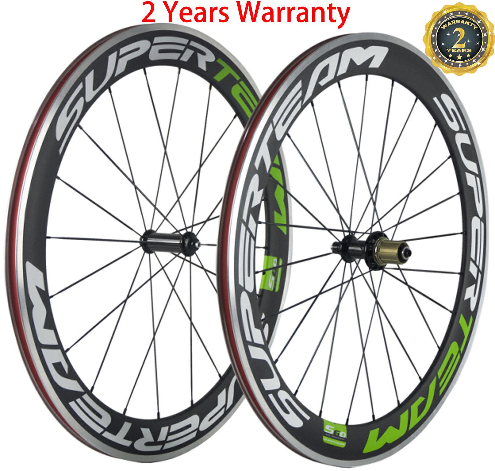 Superteam 60mm Clincher  Road Bike Wheelset 700C Aluminum Bicycle Carbon Wheels  online cheap