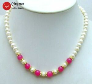 6-7mm-White-Natural-Freshwater-Pearl-Necklace-for-Women-17-034-Chokers-amp-Red-Jade