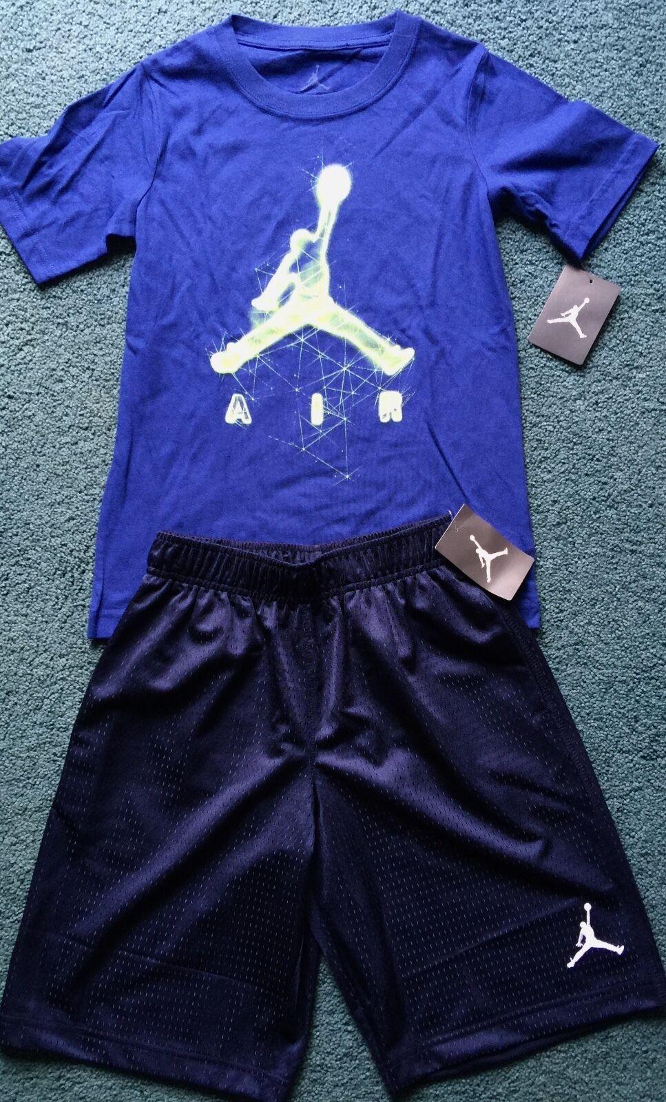 a6e7081a9b5 Buy Nike Jordan Boys YLG Dark Blue/neon Green/navy Blue Shorts Set ...