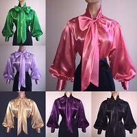 Shiny Liquid Satin Long Sl Bow Blouse Top Vtg High Neck Shirt S M L 1x 2x 3x