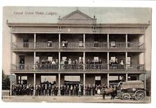 Vintage postcard Grand Union Hotel, Calgary people stage coach advertising