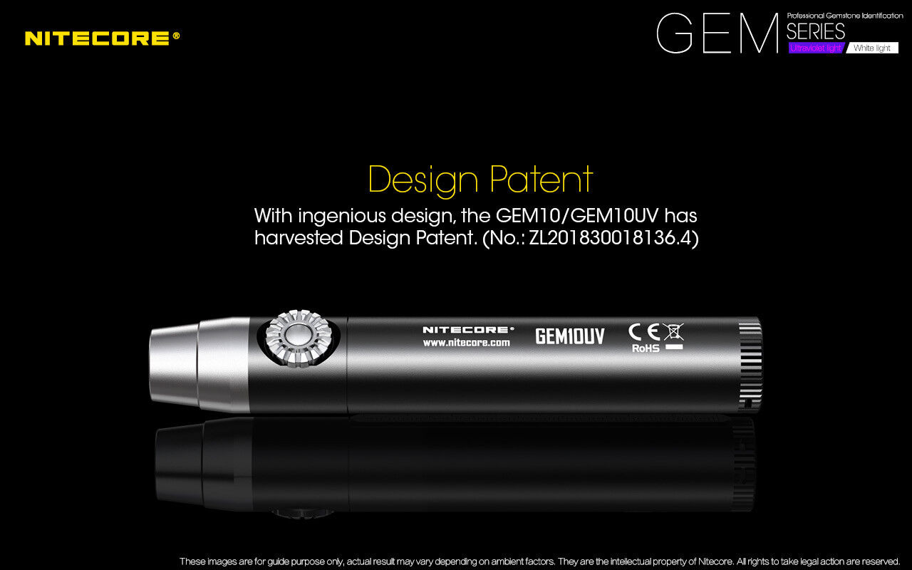 Nitecore GEM10UV GEM IDENTIFICATION Flashlight w/NL183 Battery + A1 A1 A1 Charger e3f79c