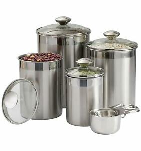 Details about Beautiful 8 Pcs Stainless Steel Canisters Food Storage  Container Kitchen Counter