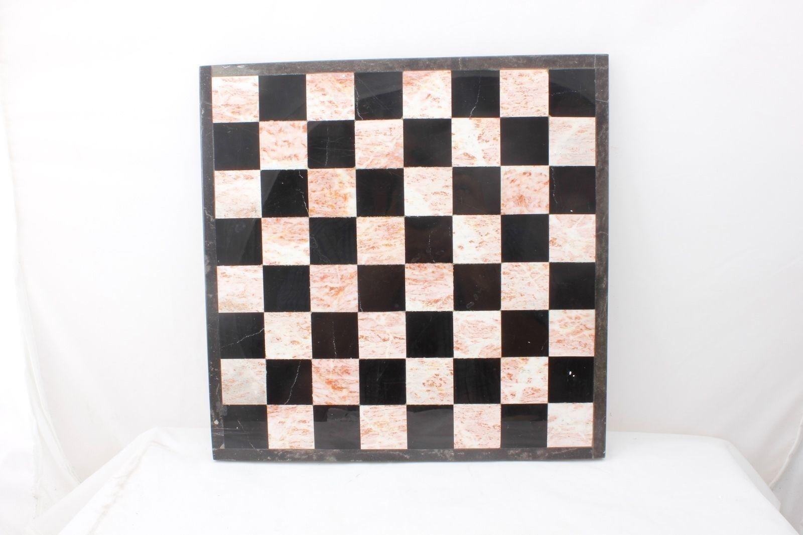 Negro Y blancoo Piedra Tablero De Ajedrez Vintage 13.5  Cuadrado 1 2  de espesor sólido