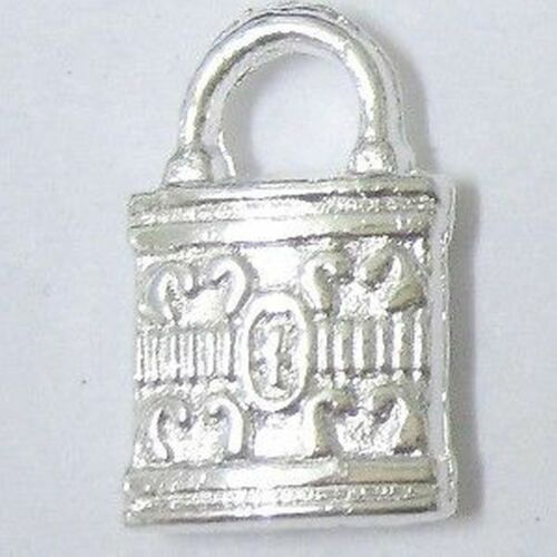 25 x Silver Tone patterned padlock Alloy Charm Pendant A0247