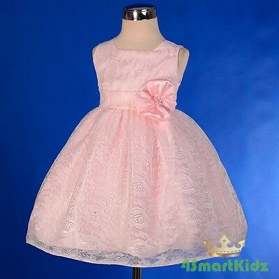 Pink Floral Lace Formal Occasion Dress Wedding Flower Girl Party Size 00-3 FG276