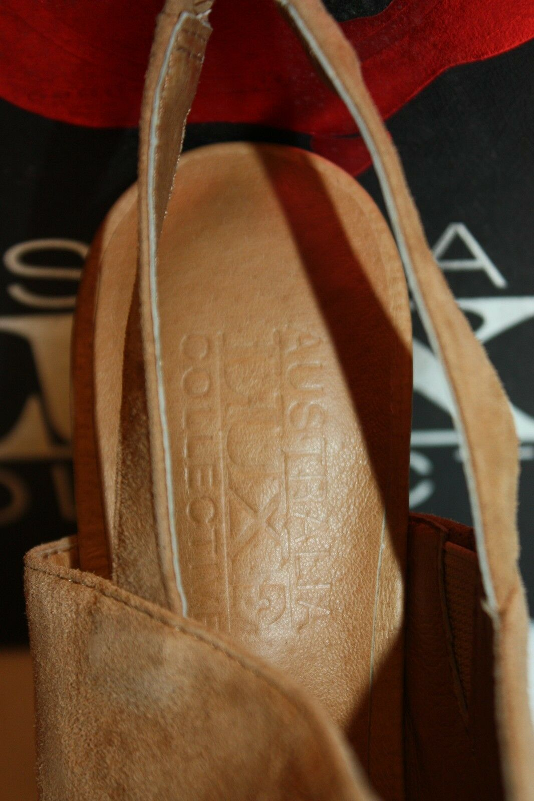 NEW LUXE  NIB  AUSTRALIA LUXE NEW COLLECTIVE Tan Ostrich Leder DELORES Wedge Heels 6 9b0f6f