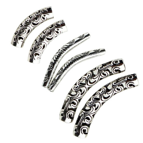60pcs Metal Curved Tube Flower Carving Spacer Loose Beads DIY Jewelry Craft