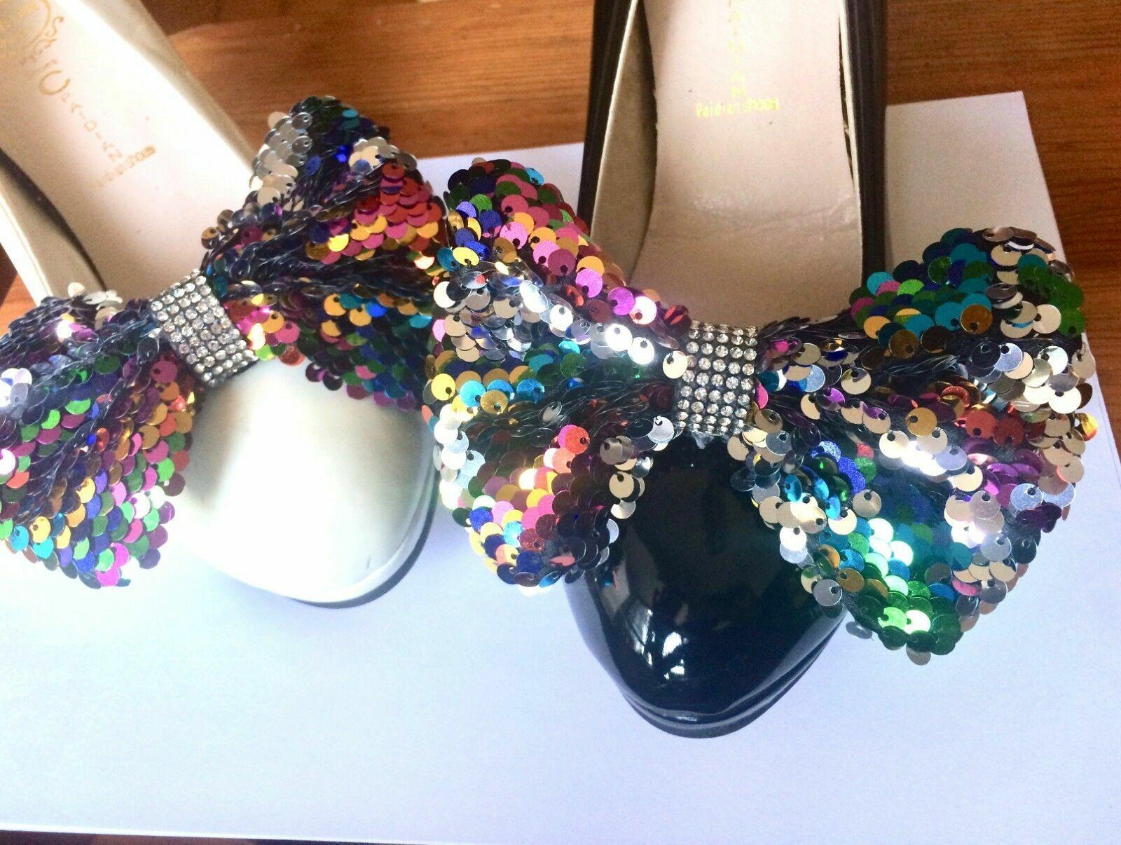 2 Pcs Rainbow Aurora Sequin Large Bridal Crystal Bow Wedding Shoe Clips