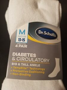 3640a6a9153e Dr. Scholls Mens ankle 4 Pack Diabetes Circulatory White Socks 13 15 ...