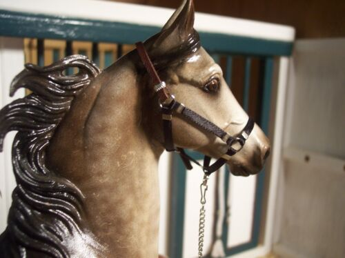 not for real horse Jaapi BLACK halter w//leather crown w//lead fits Breyer