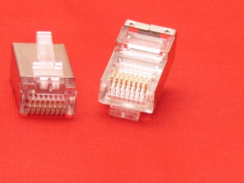 10 X Pcs CAT5 Shielded 8P8C RJ45 Socket Plug Network Modular Connectors Cable 5e