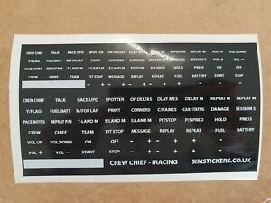 Details about BLACK Crew Chief button box and wheel stickers for iracing etc