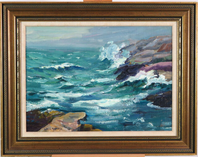 Lila Knowles WAAC (1886-1979) Canadian Listed Oil/Canvas Seascape Rocky Shore