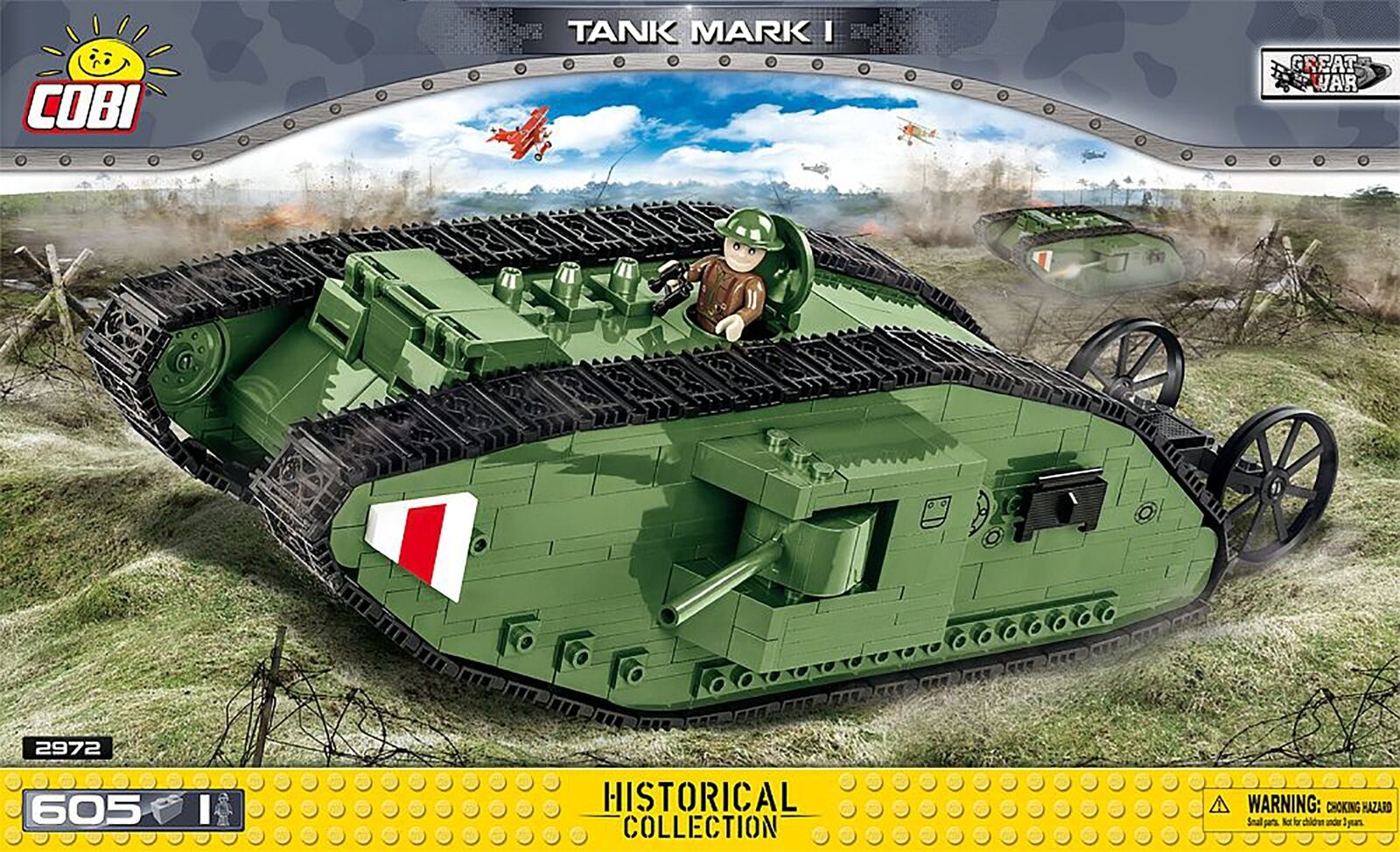 Cobi Petit Armée WW1 Tank Mark I Modèle 605 Pièce Set de Construction