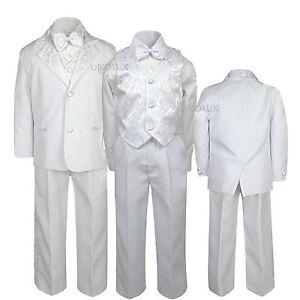 2pc Set Baby Baby Toddler Kid Teen Boys Formal Black Pants White Shirt Suit S-20